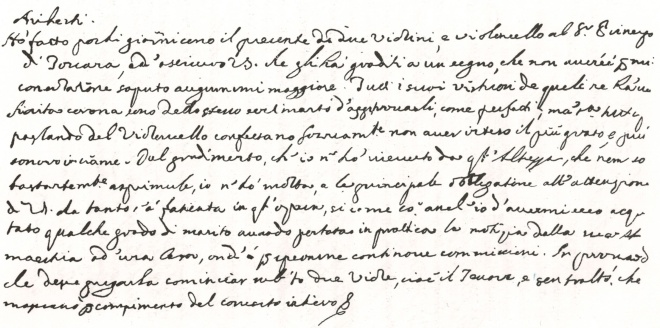 The Marquis of Ariberti's letter to Stradivari in 1684 commissioning a 'concerto' of violins (click to enlarge)