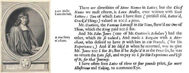 Thomas Mace's Musick's Monument describing prices of £100 for the lutes of Laux Maler during the reign of Charles I.