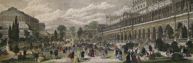The Royal Albert Hall and International Exhibition Galleries as they looked in 1871