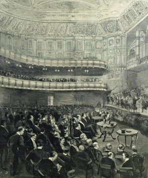 The opening concert of the Queen's Hall on 25 December 1893 given by the Royal Amateur Orchestral Society, with Tivadar Nachez as soloist. Arthur Sullivan was the first conductor of this entirely amateur orchestra, and the Duke of Edinburgh was it's leader.