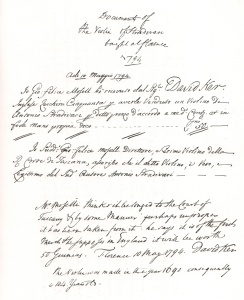 Giovanni Felice Mosell's receipt of sale to David Ker in 1794 stating his belief that it had been made for the Court of Tuscany