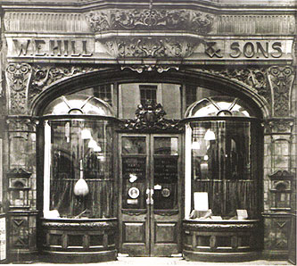 W.E. Hill & Sons shop at 140 New Bond Street, immediately across the road from Sotheby's.