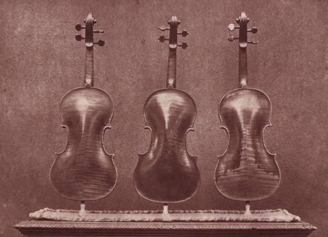Back images of 'La Pucelle', 'Le Messie' and 'Le Violon du Diable' from the front, taken for the 1872 exhibitor's edition of the Catalogue of the Exhibition of Ancient Musical Instruments at the South Kensington Museum - from our archives.