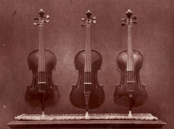 Front images of 'La Pucelle', 'Le Messie' and 'Le Violon du Diable' from the front, taken for the 1872 exhibitor's edition of the Catalogue of the Exhibition of Ancient Musical Instruments at the South Kensington Museum - from our archives.
