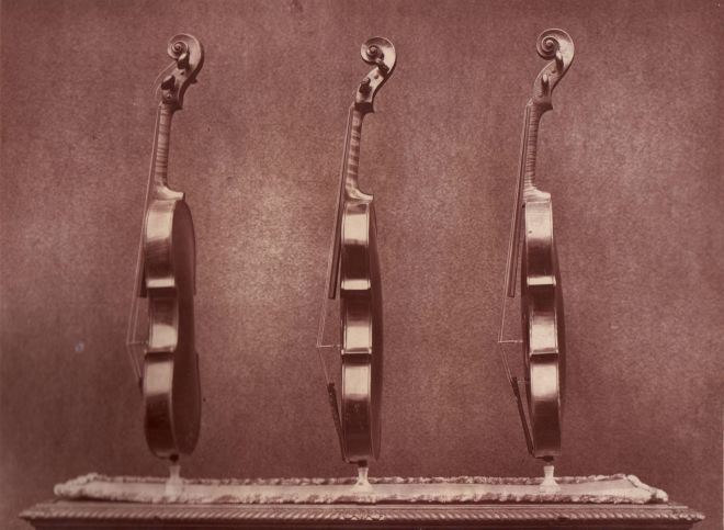 Side images of 'La Pucelle', 'Le Messie' and 'Le Violon du Diable' from the front, taken for the 1872 exhibitor's edition of the Catalogue of the Exhibition of Ancient Musical Instruments at the South Kensington Museum - from our archives.