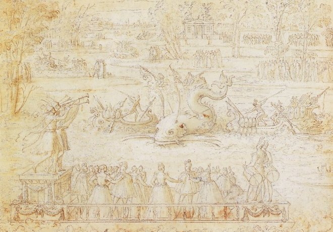 Antonie Caron's sketches for the 1564 Festivities at Bayonne that included massed musicians in a large artificial dolphin.