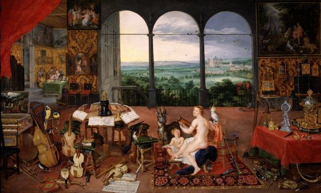 Jan Breughel the younger, Allegory of the sense of sound, 1618