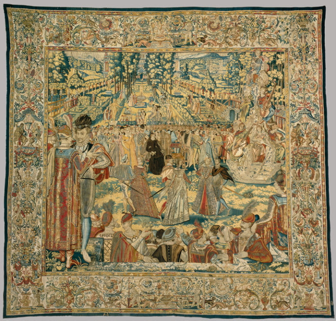 Mount Parnassus from the ball at Les Tullieres  to celebrate the Polish Ambassadors in 1573 from the Valois Tapestries.