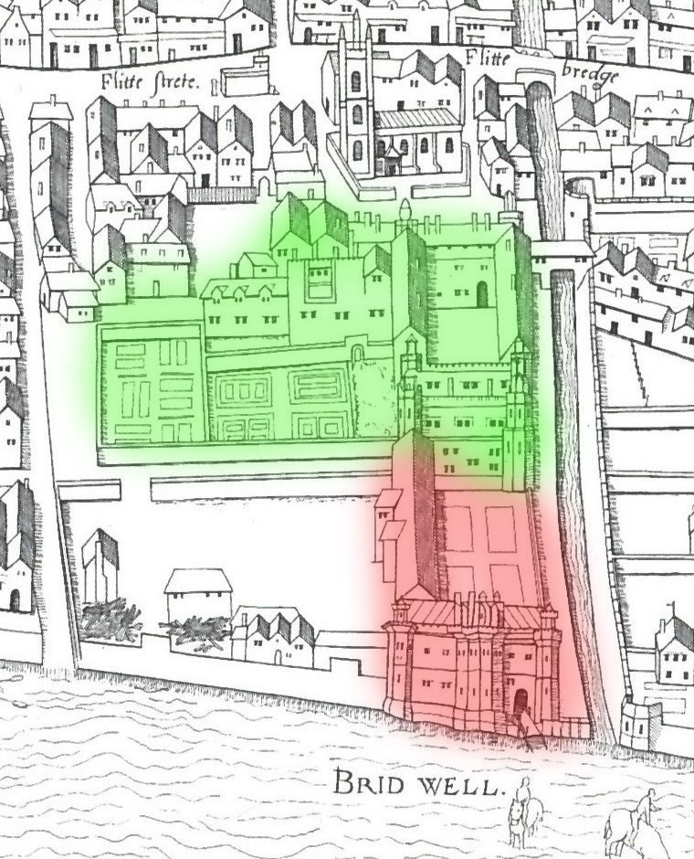 Bridewell from the 1563 Ralph Agas map. In red is the old state apartments occupied by John Rose. The area in green became an orphanage in 1553.