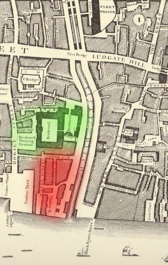 1746 John Roque map of London, the riverside part of the palace redeveloped as timber yards.