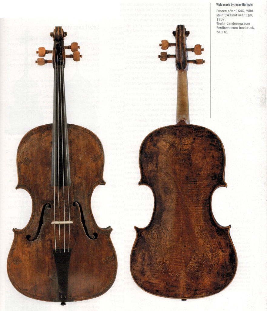 Viola by Jonas Heringer, now dated to post 1640,